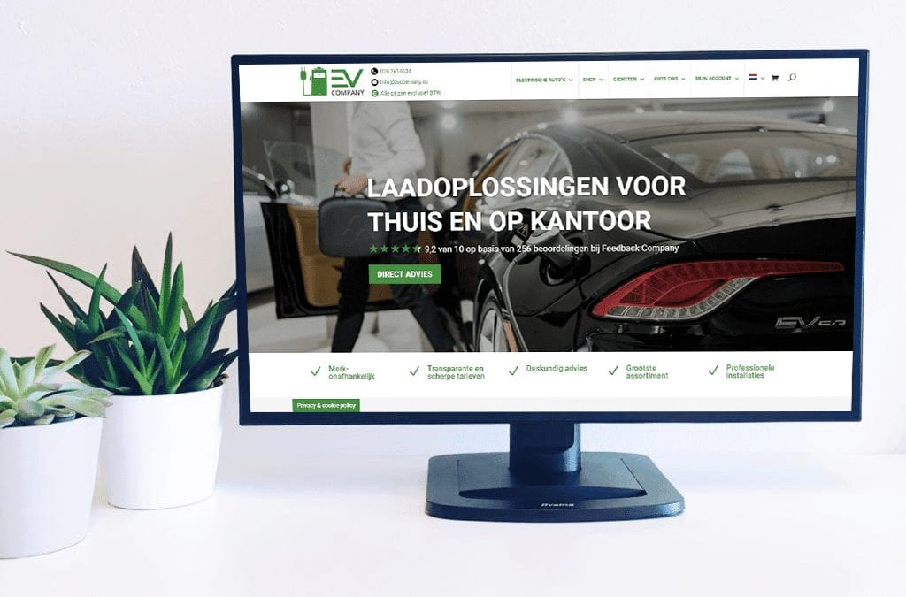 Website van EV Company op een scherm