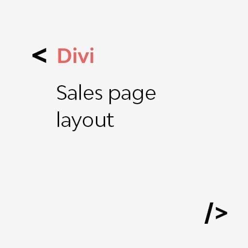 Divi: Sales page layout