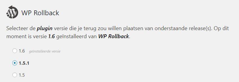 Plugin update terugdraaien met Rollback